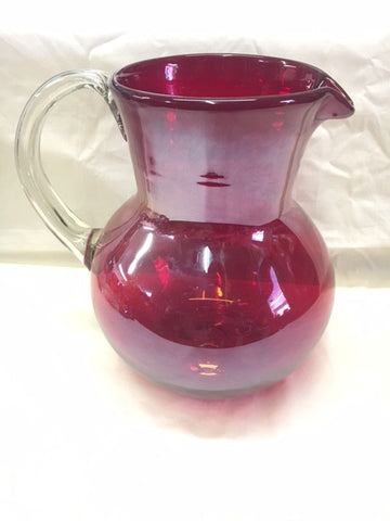 Red without Luster Bowl Pitcher in hand blown glasses