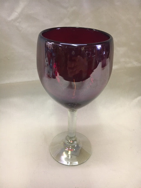 4 Red with Lustre hand blown wine glasses