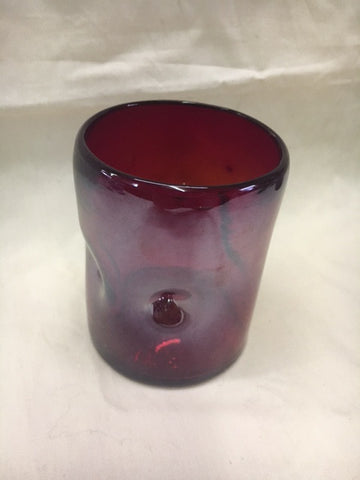 4 Red with lustre hand blown on the rocks glasses