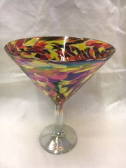 4 Flame Confetti hand blown triple martini glasses