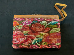Guatemalan vintage huipil fabric made into a wristlet purse with a 2 pull zipper