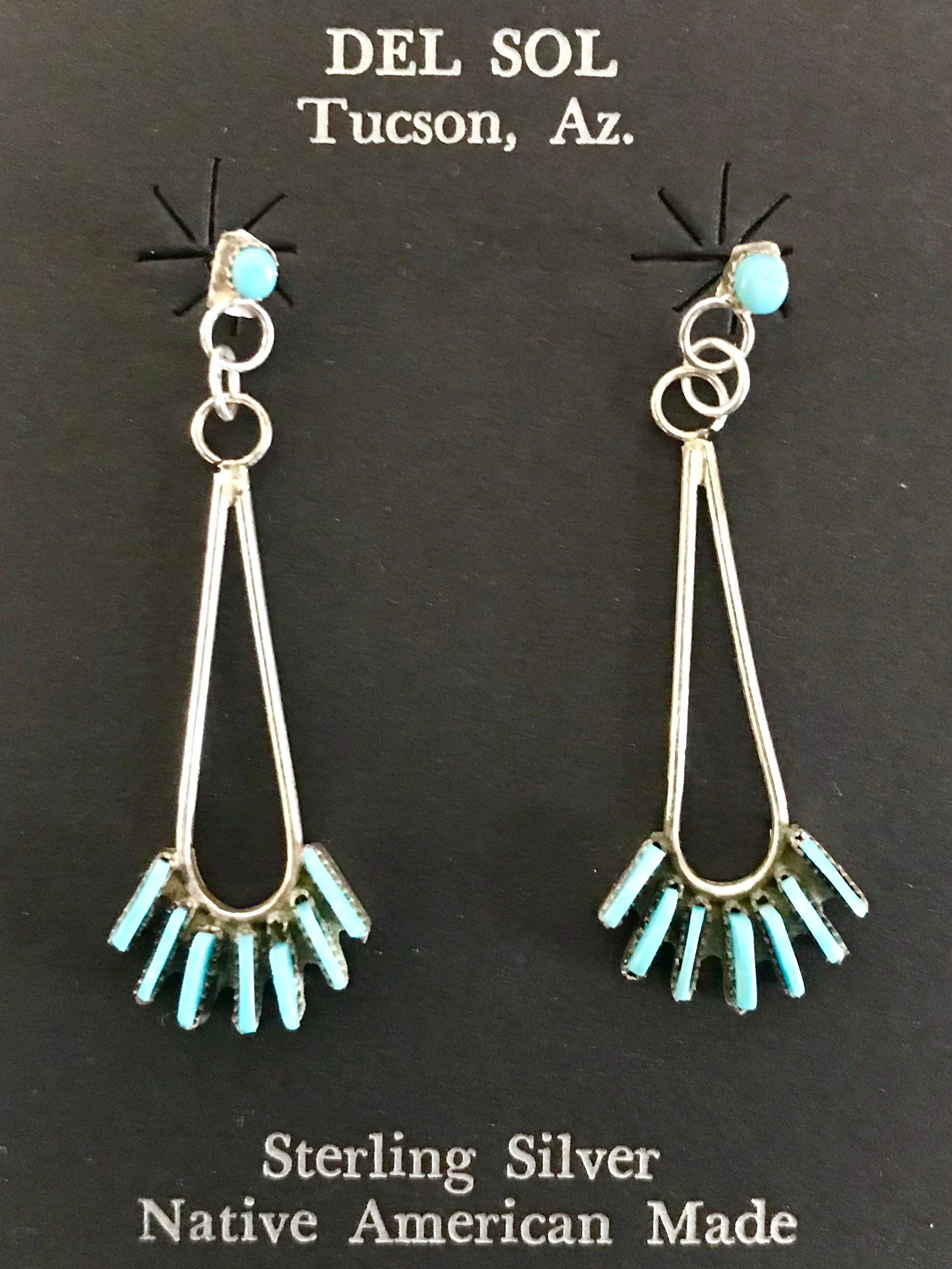 Zuni, Native American handcrafted, sterling silver, genuine stone earrings, made in New Mexico, USA.