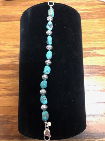 Genuine Campitos turquoise nuggets and sterling silver bead bracelet A.S.