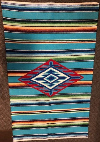 Reproduction of vintage Mexican Serape woven in wool for floor use.