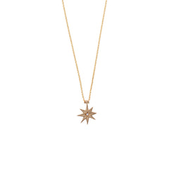14K GOLD AND DIAMOND STAR NECKLACE