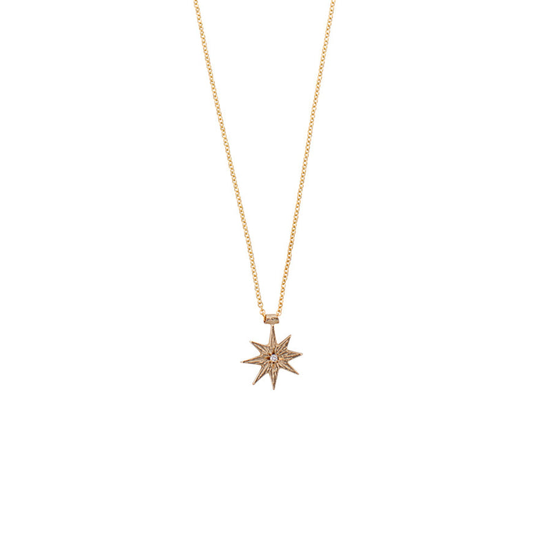 GOLD DIAMOND STAR NECKLACE - Ruby Star