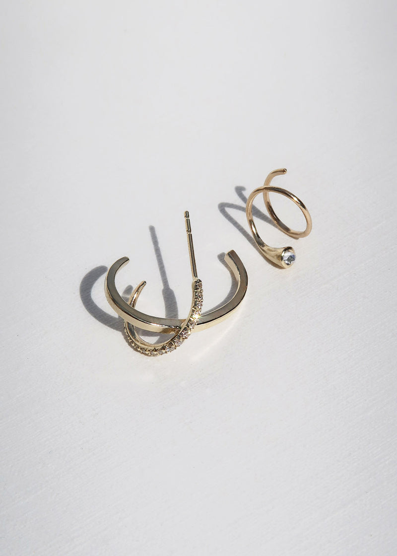 GOLD SLINKY EARRING - Ruby Star