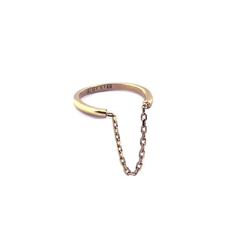 SINGLE GOLD RIB AND CHAIN RING