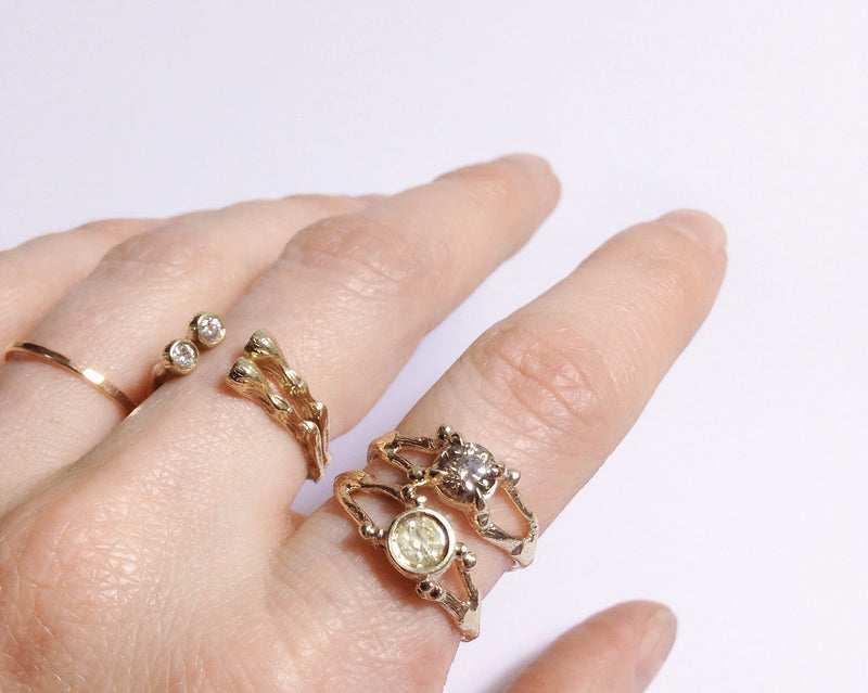 14K GOLD AND DIAMONDS FLORA RING