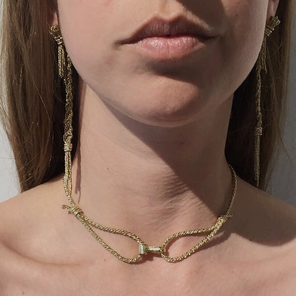 GOLD ROPE CHOKER NECKLACE