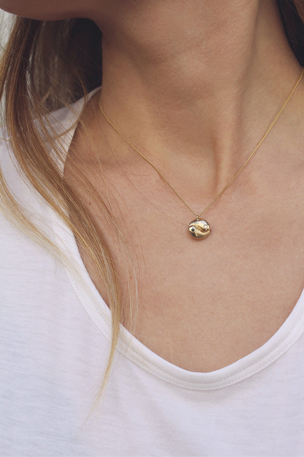 14K GOLD YIN YANG NECKLACE