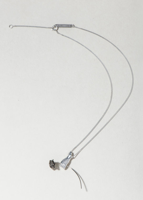 SILVER HAND AND ROSE NECKLACE - Ruby Star