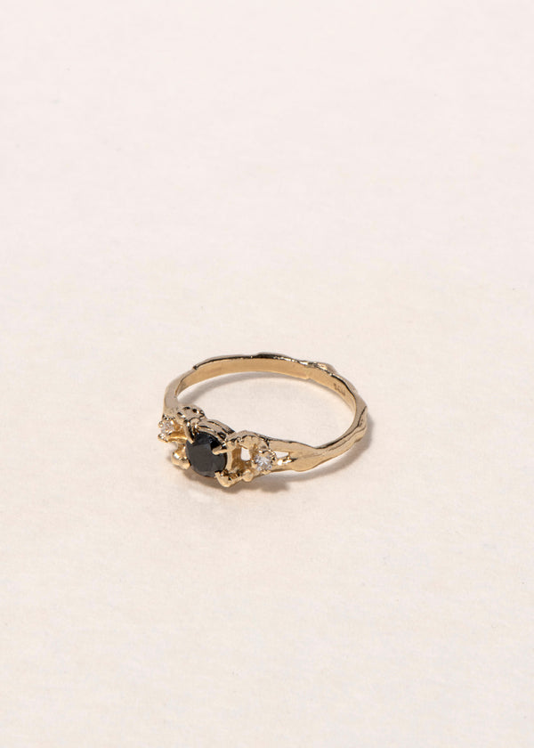 14K BLACK AND WHITE DIAMOND TRILOGY RING