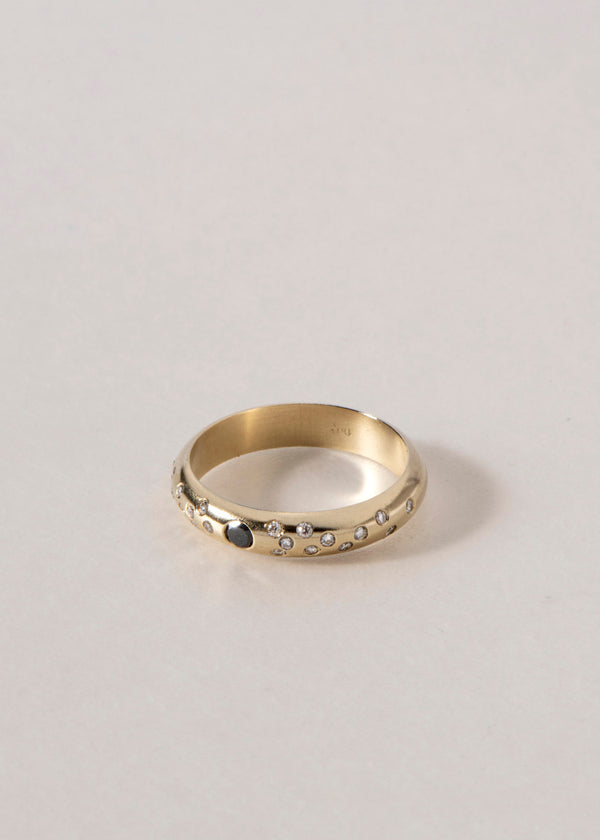 14K GOLD BLACK DIAMOND CONFETTI RING
