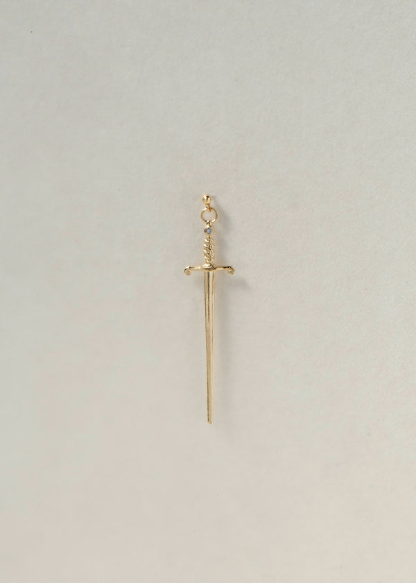 14K GOLD SWORD DIAMOND EARRING - Ruby Star