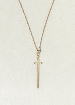 14K GOLD AND DIAMOND SWORD NECKLACE