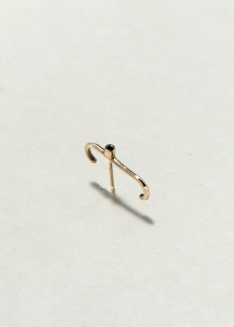 GOLD U  DOT EARRING - Ruby Star