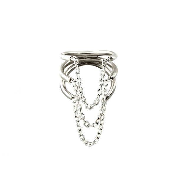 SILVER RIBS AND CHAINS RING