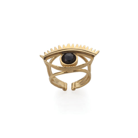 GOLD EVIL EYE RING
