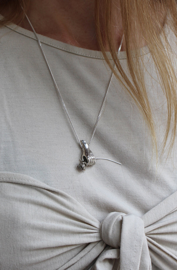 SILVER HAND AND ROSE NECKLACE