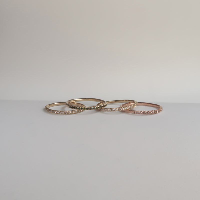 GOLD THIN HALF ETERNITY RING - Ruby Star