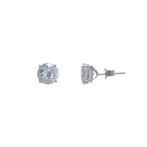 8mm CZ Solitaire Stud Set In Sterling Silver