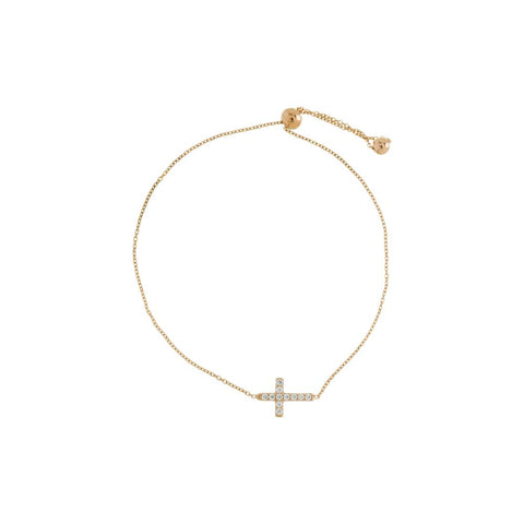 Rose Gold Side Cross Bracelet