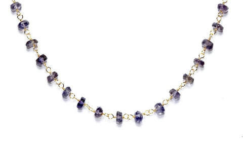 "40"" Iolite Rosary Necklace"