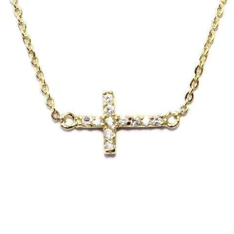 Accented Side Cross Necklace (More Metals)