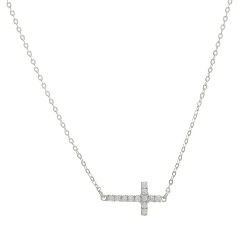 Accented Side Cross Necklace