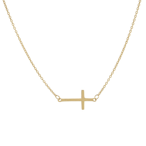Gold Vermeil Side Cross Necklace