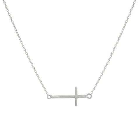 Sterling Silver Side Cross Necklace