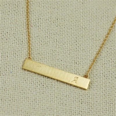 Brass Bar Initial Necklace