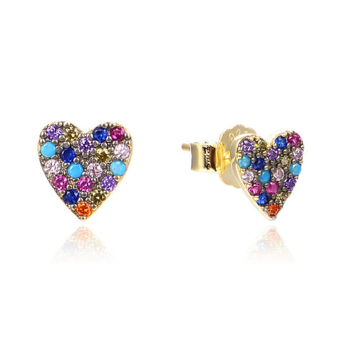 Multi Colored Heart Studs