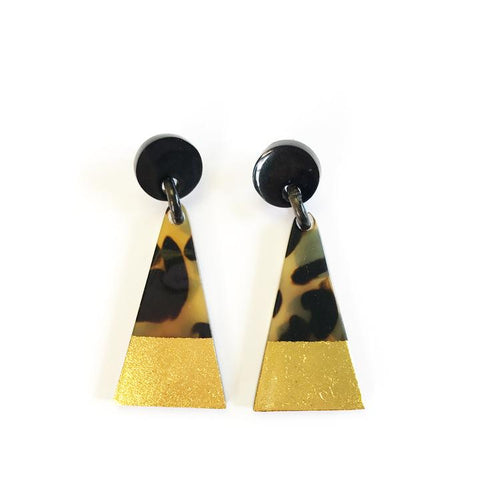 Gold Dipped Tortoise Triangle Earrings