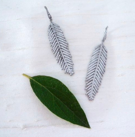 Pave Feather Earrings (More Metals)