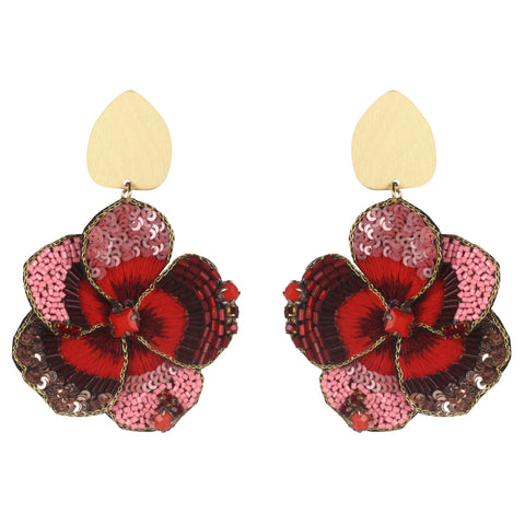 Red Fall Flower Earrings