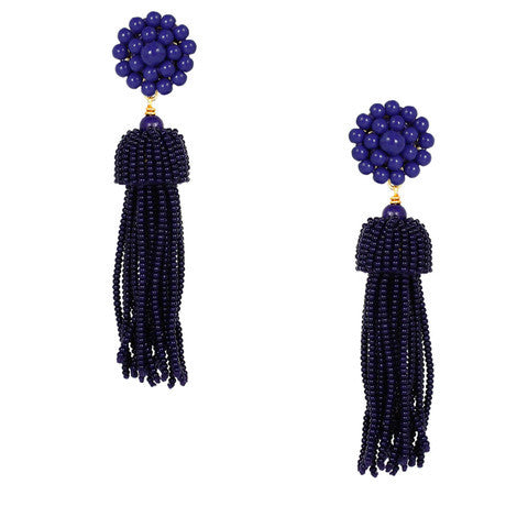 Lisi Tassel Earrings - Navy