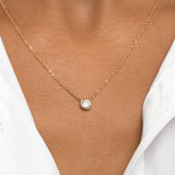 Tiny Bevel Set Solitaire Necklace