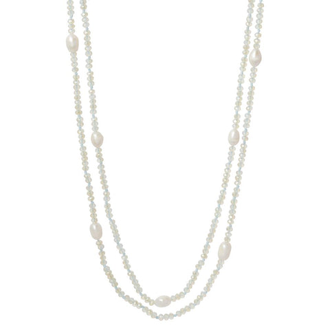 Knotted Crystal + Pearl Wrap Necklace