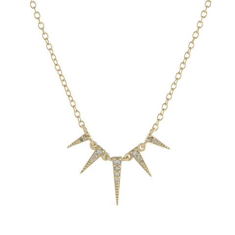 Pave Multi Spike Necklace