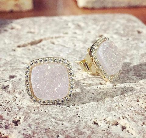 Aubra Druzy Studs (Light Pink)