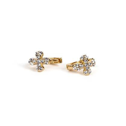 Tiny Accented Cross Huggie Earring
