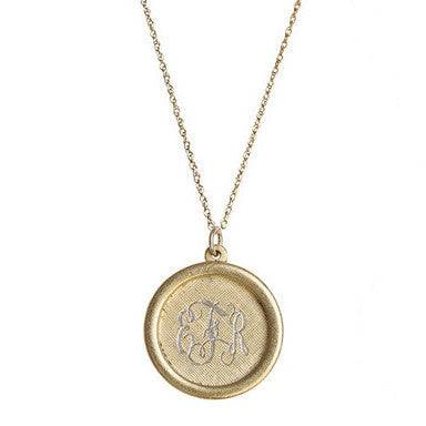 Antiqued Large Framed Gold Disc Initial Necklace