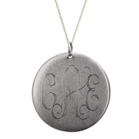 Large Silver Antique Disc Necklace