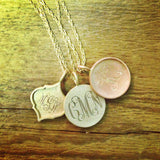 14kt Gold Framed Monogram Disc Necklace