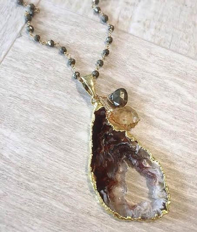 Geode and Pyrite Harvest Necklace