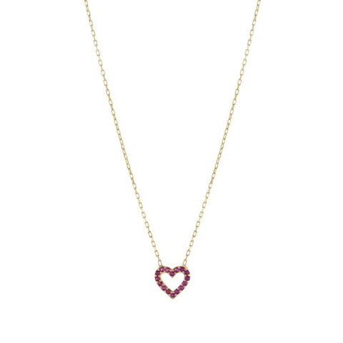 Pink Pave Heart Necklace