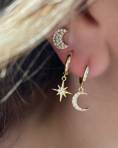 Star and Moon Huggie + Moon Studs