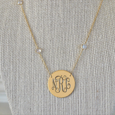 Embellished Monogram Disc Necklace